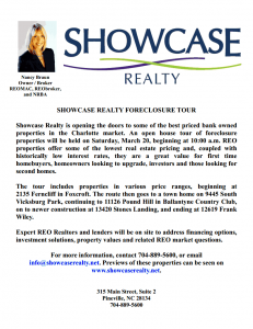 Showcase Realty is opens the doors to some of the best priced bank owned properties in the Charlotte NC market.